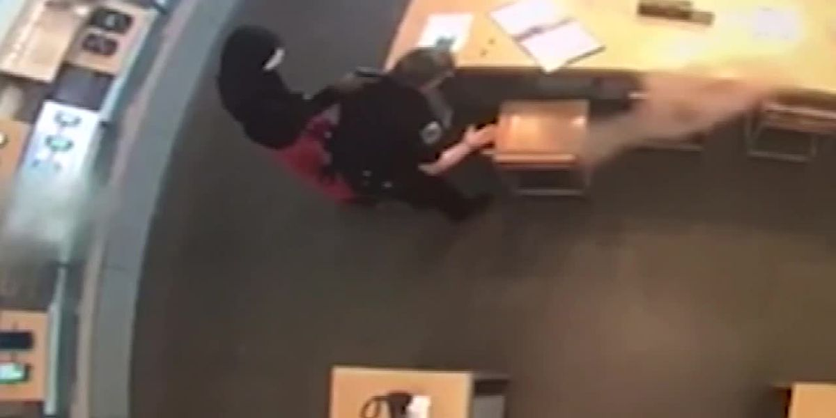 Raw video: Robber disarms officer, holds her at gunpoint