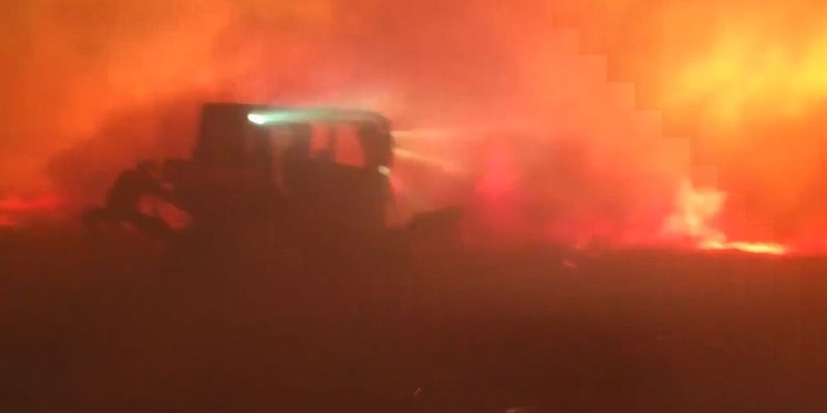Firefighter uses bulldozer to fight wildfire in 50 mph winds