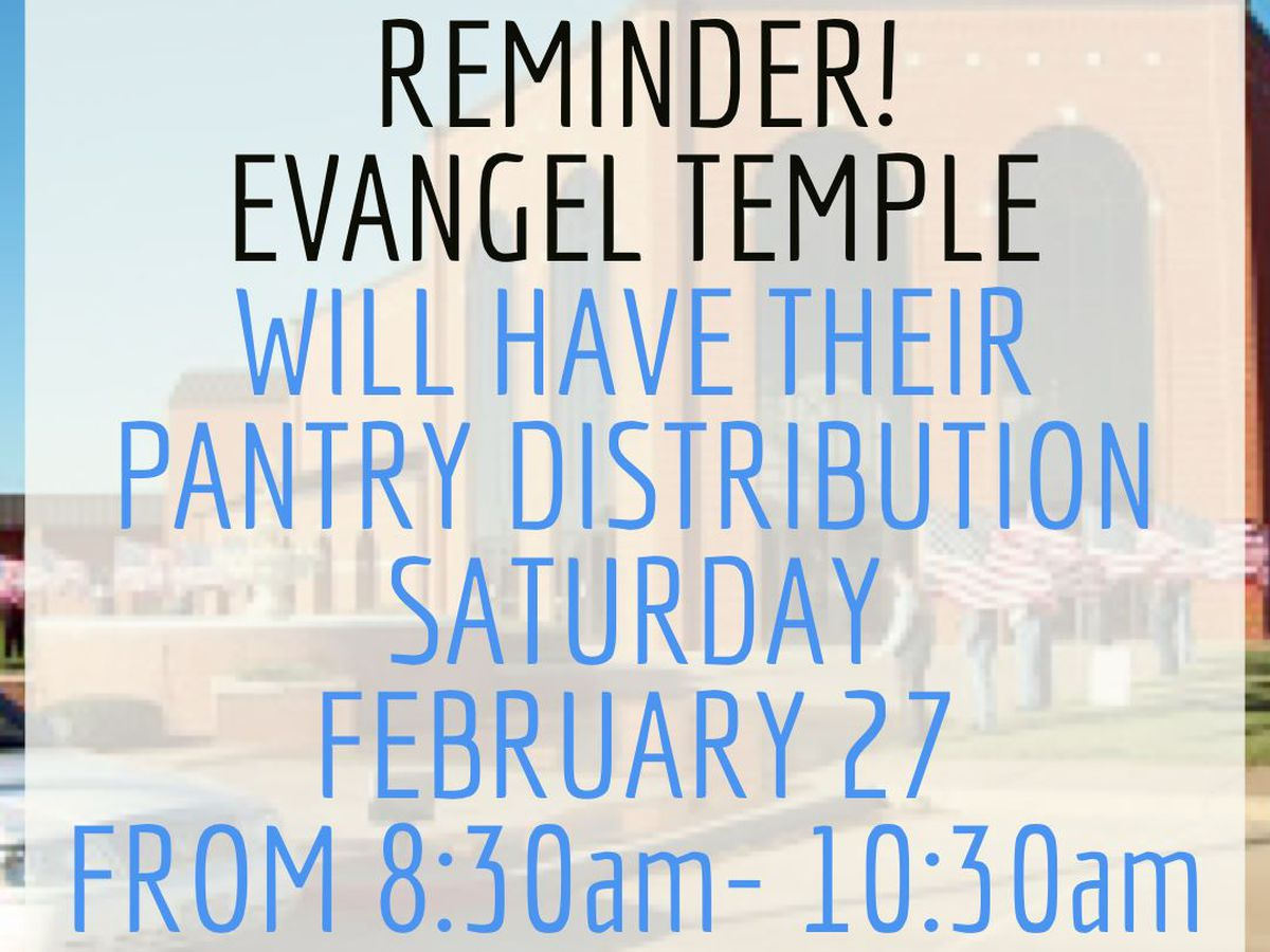 Evangel Temple pantry distribution on Saturday