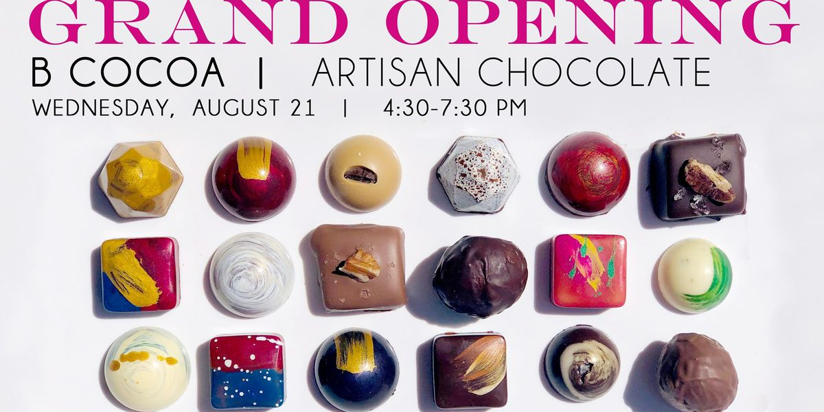 Local artisan chocolate shop holding ribbon cutting