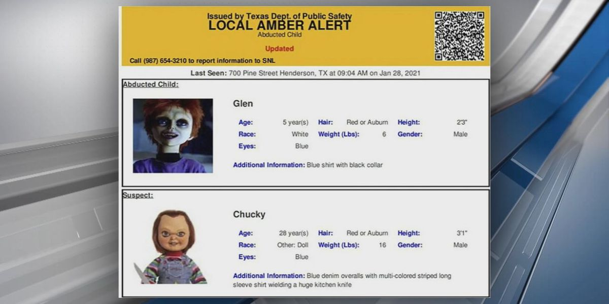 Not child's play: Chucky doll featured in errant Amber Alert