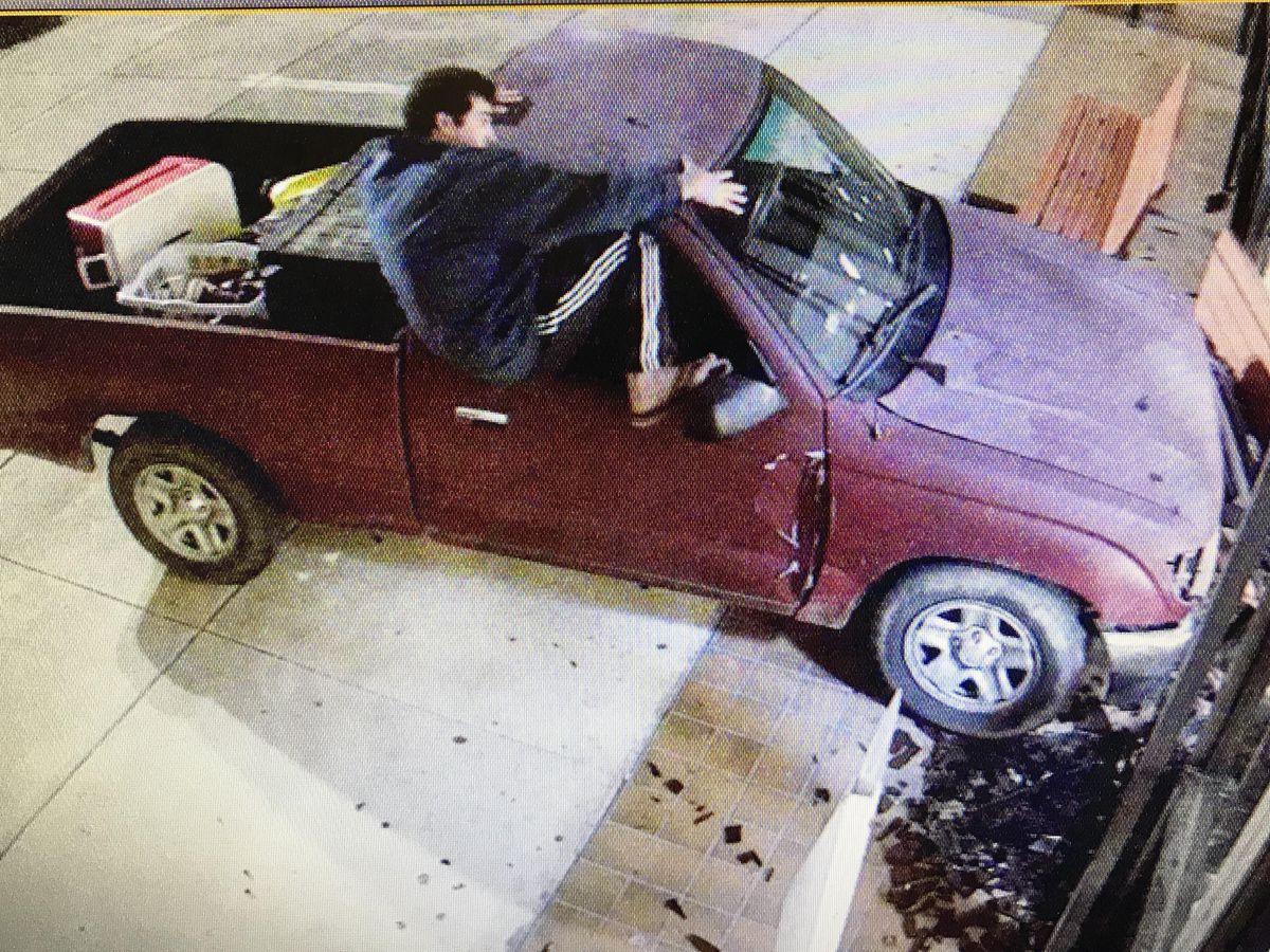 VIDEO: Man crashes into courthouse, tells police he needs to report stolen drug paraphernalia