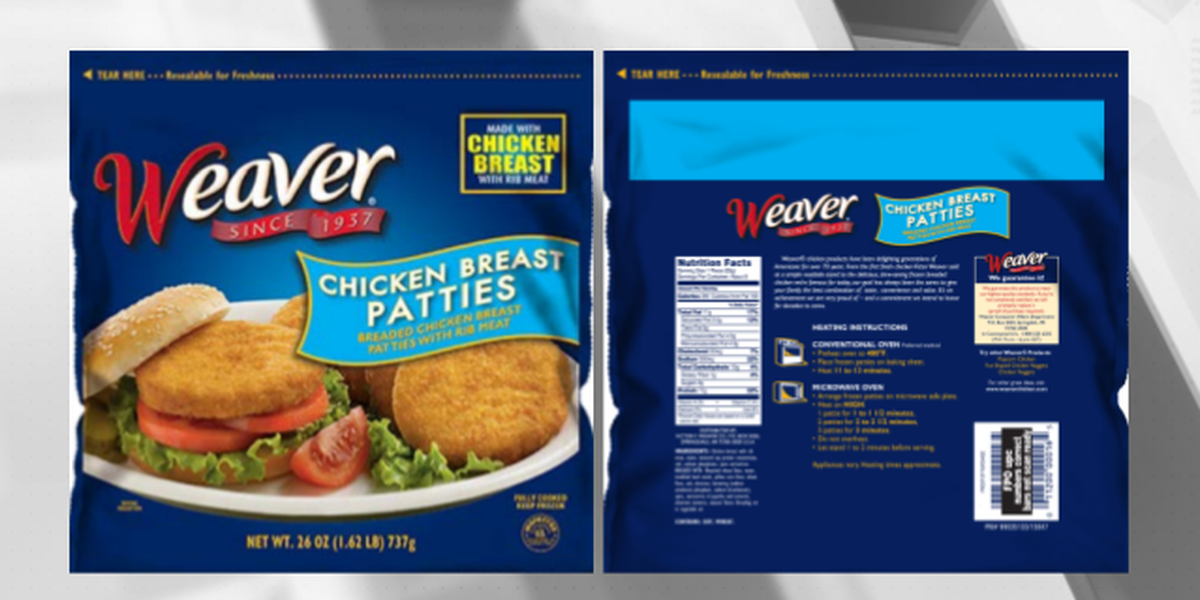 Tyson recalling nearly 40,000 lbs. of chicken patties due to foreign matter contamination