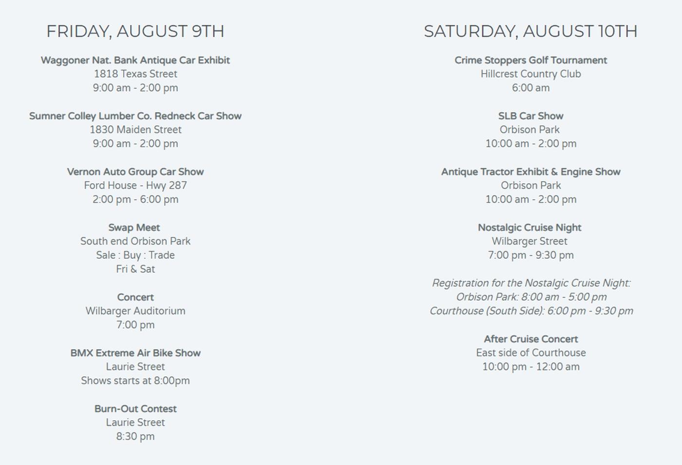Hometown Pride Tour: Vernon - Summer's Last Blast Car Show