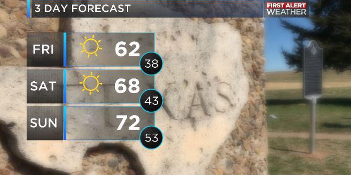 Sunshine all weekend, rain chances on Monday