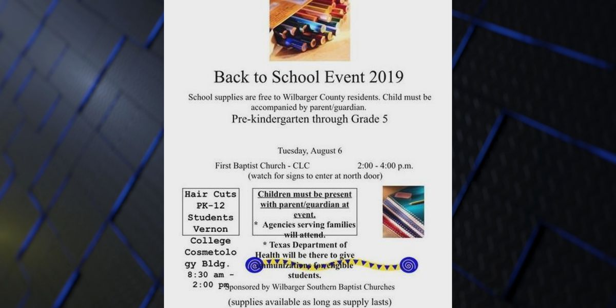 Back to school event in Vernon today