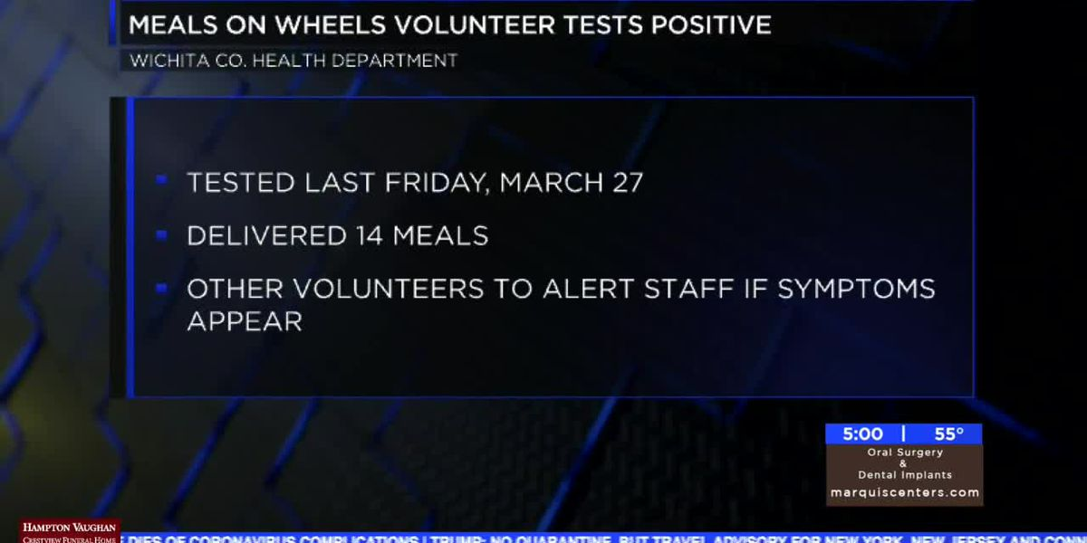 Volunteer with Meals On Wheels tests positive for COVID-19