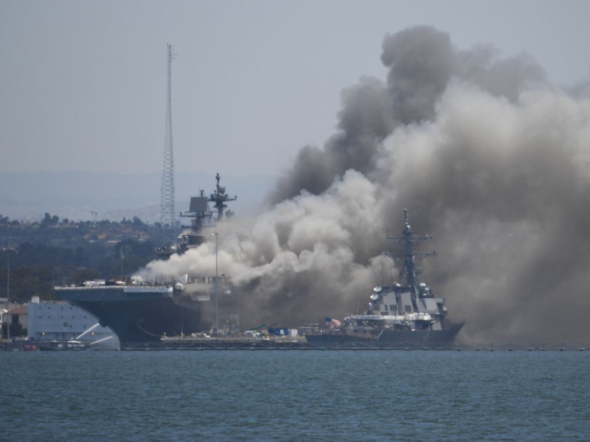 21 injured in fire aboard ship at Naval Base San Diego