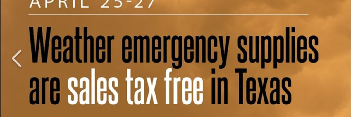 Emergency Preparation Supplies Sales Tax Holiday is this weekend