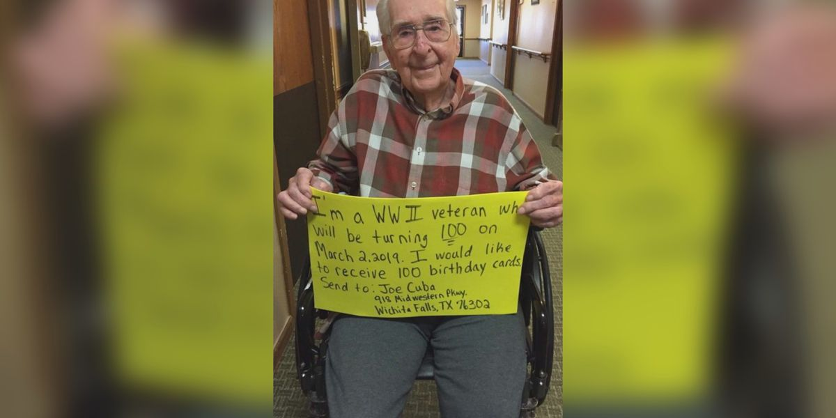 WWII Vet asks for 100 birthday cards for 100th birthday