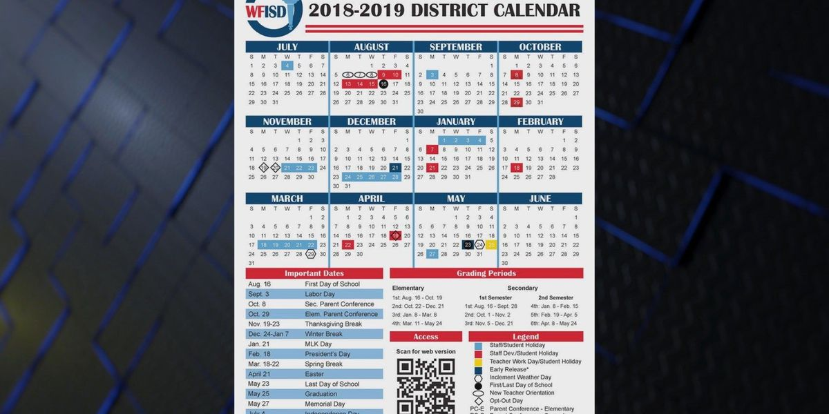 WFISD proposes new school calendar with extended Thanksgiving break