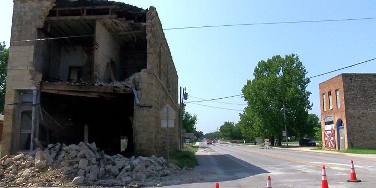 Demolition of damaged building in Montague Co. underway