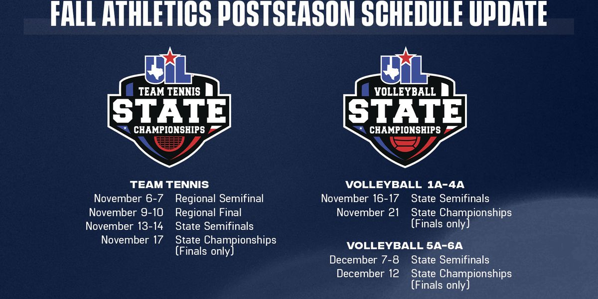 UIL releases new dates for Team Tennis and Volleyball postseason play