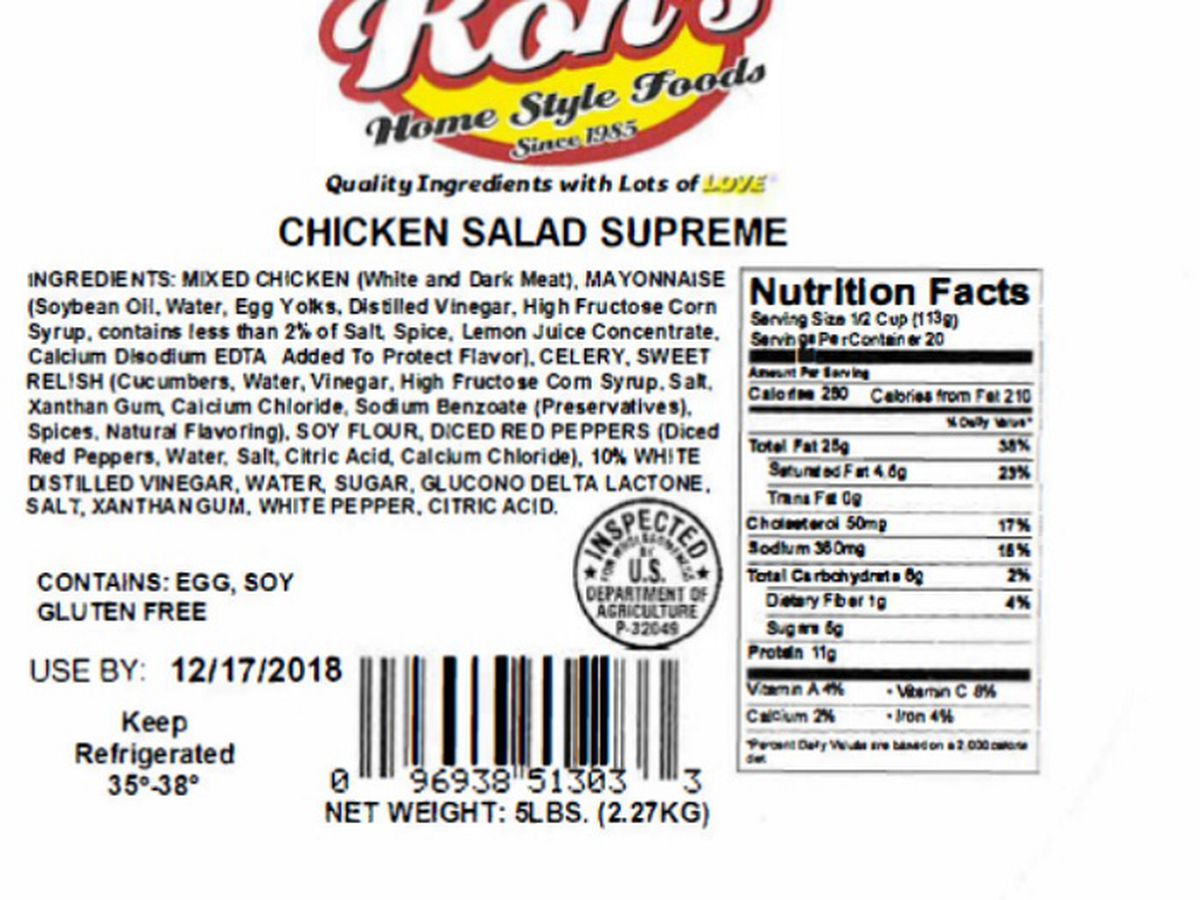 Houston-based Ron's Home Style Foods recalls nearly 3.5 tons of chicken salad products