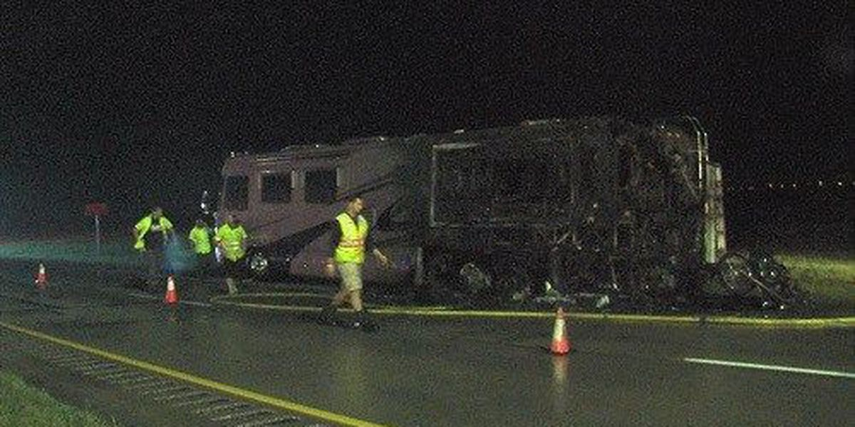 Camper catches fire on Wichita County highway