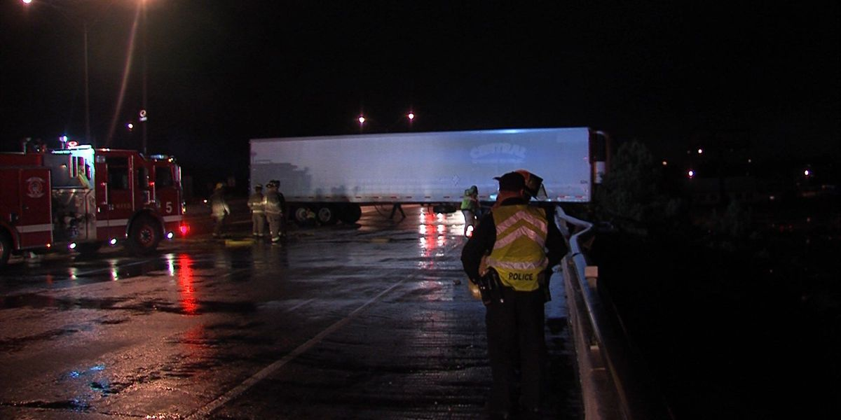 Truck Crashes on Central Freeway Overnight