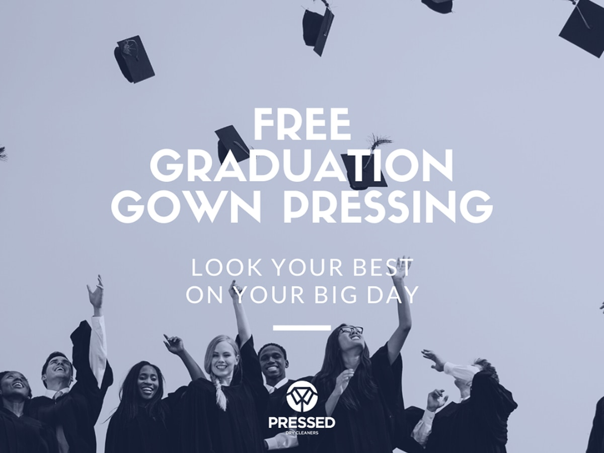 Pressed Dry Cleaners of WF offering free graduation gown pressing