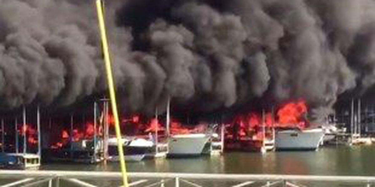 Fire destroys several boats at marina on Lake Texoma