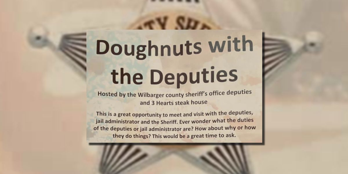Wilbarger Co. Sheriff holding Doughnuts with the Deputies on Saturday