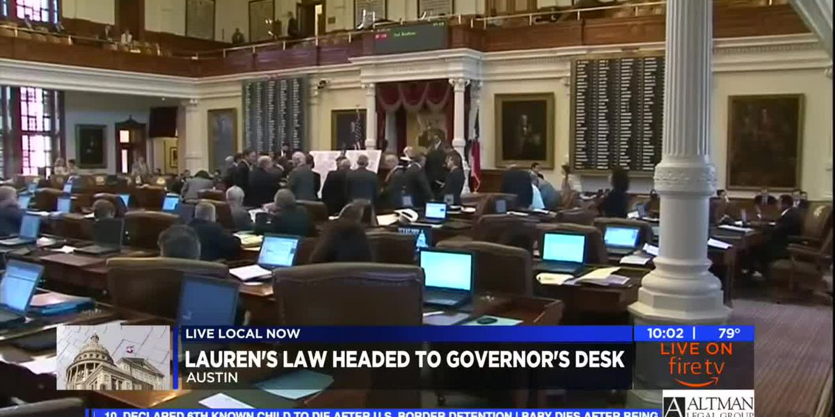 Lauren's Law passes final hurdle, headed to Governor Abbott