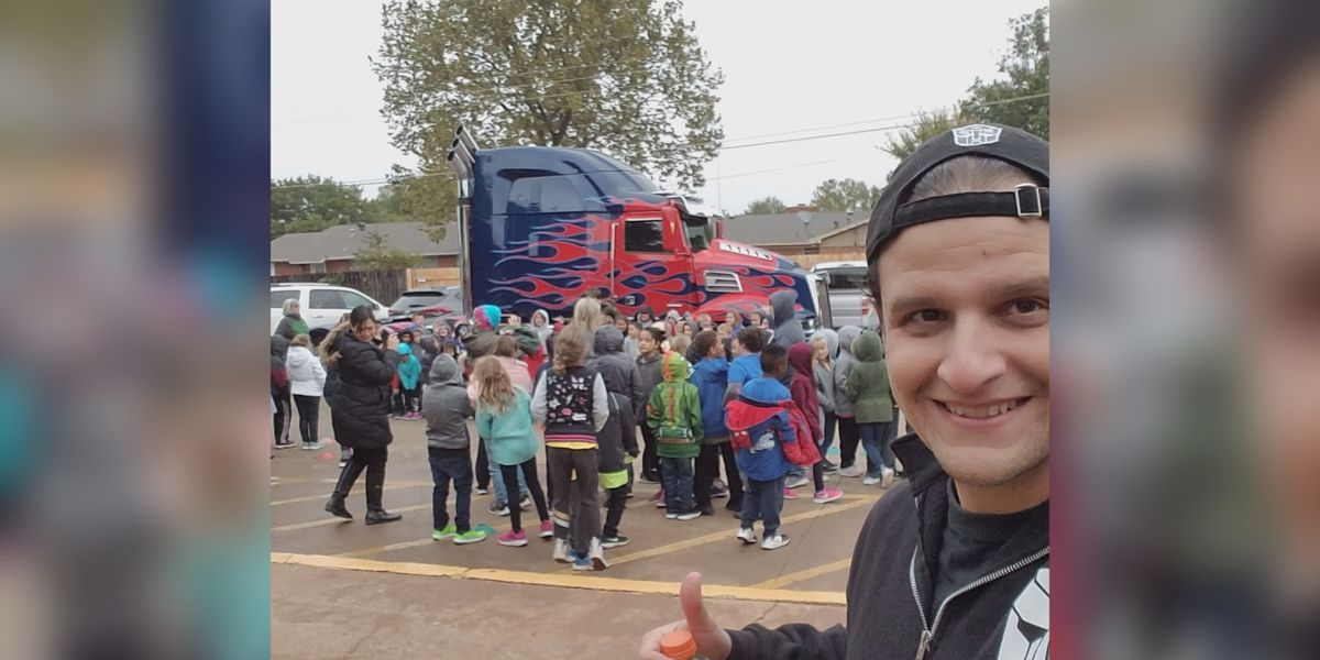 """""""Optimus Is Here,"""" makes a pit stop at Fain Elementary"""