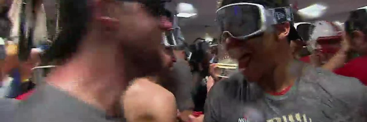 Champagne flows for the Nationals after World Series win