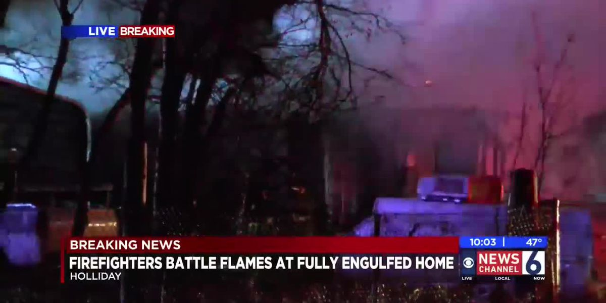 Firefighters battle blaze in Holliday - Camille live from the scene