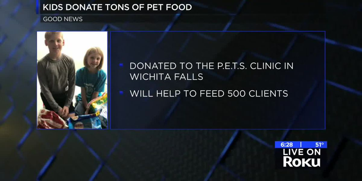Two kids collect thousands of pounds of food for PETS clinic
