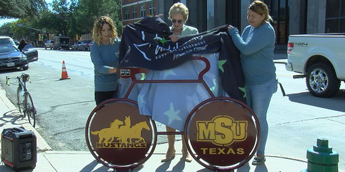 MSU Texas themed bike rack unveiled in downtown Wichita Falls