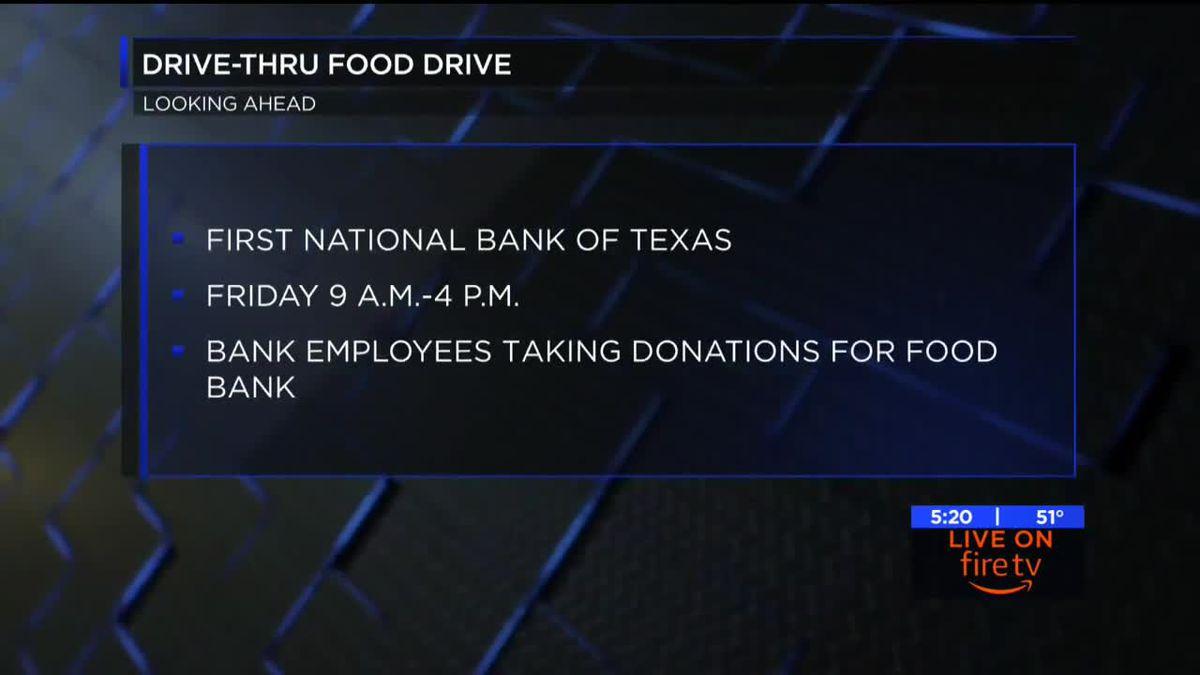 First National Bank hosting first drive thru food drive