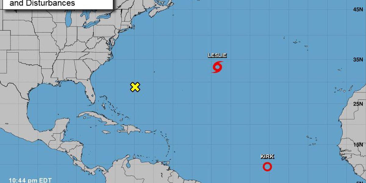 Kirk weakens to tropical depression; Leslie forms