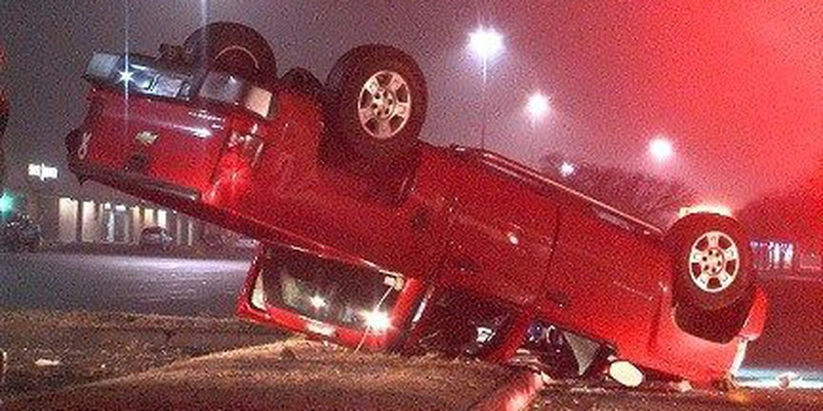 Truck Flipped Over In Wichita Falls